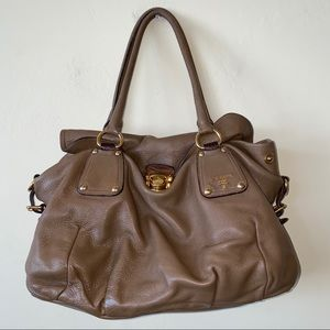 PRADA Brown Leather Relaxed Hobo Shoulder Bag